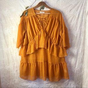 Missguided Oversized Yellow Flock Dot Dress US 6